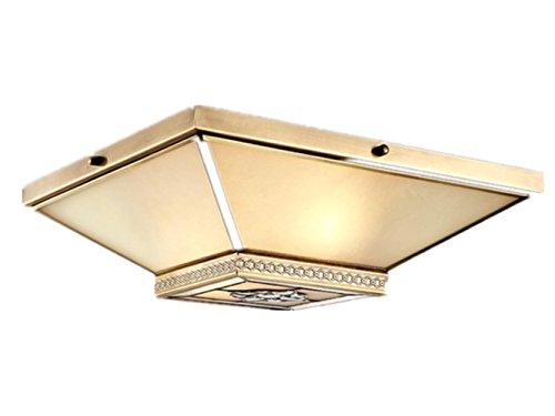 XXFFH Glühlampen Leuchtstofflampe Licht Fyn Messing Decke Lampe Für Wohnzimmer Schlafzimmer Küche Der Garderoben-Durchmesser 40Cm 25W Einfache Quadratische Mediterrane Art (Licht-kit Vier Deckenventilator)