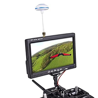 SunFounder FPV TFT LCD Color Monitor 800x480 7 Inch Wireless Receiving 5.8G 48CH AV1/AV2 Multiple OSD Languages for RC Quadcopter