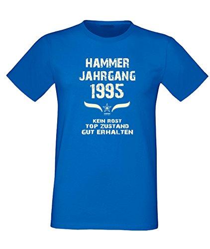 Sprüche Motiv Fun T-Shirt Geschenk zum 22. Geburtstag Hammer Jahrgang 1995 Farbe: schwarz blau rot grün braun auch in Übergrößen 3XL, 4XL, 5XL blau-02
