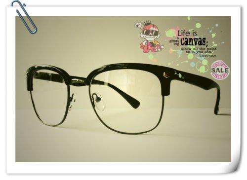 50s Schwarz Clubmaster Retro Vintage Nerd Geek CLEAR LENS Fashion Gläser Frames