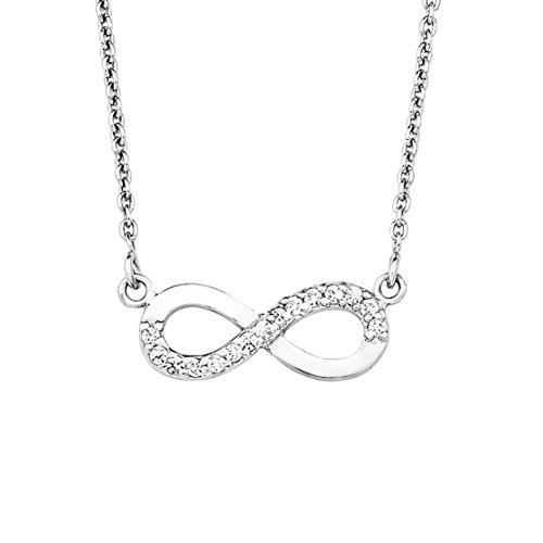 Amor Damen-Kette 45 cm mit Anhänger Infinity Unendlichkeitszeichen 925 Silber rhodiniert Zirkonia weiß