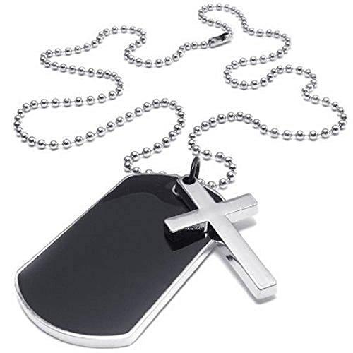 Halskette - TOOGOO(R) Schmuck Herren Damen Halskette, Militaerischen Kreuz Erkennungsmarken Armee Stil Dog Tag Anhaenger mit 68cm Kette
