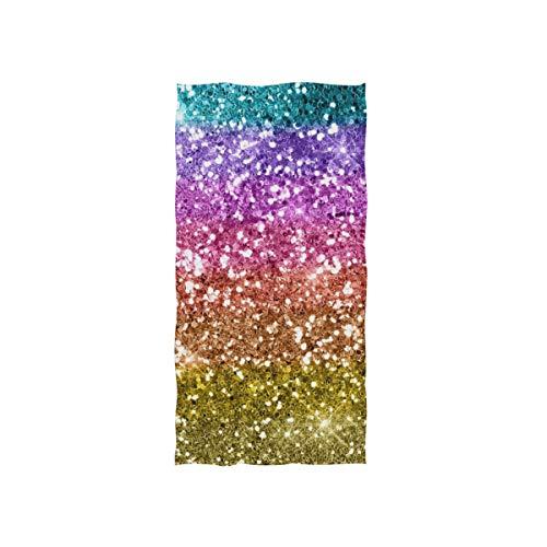 BALII Handtuch mit Glitzerstern, Regenbogen-Druck, weich, saugfähig, für Hand, Gesicht, Fitnessstudio und Spa (Hand-drucke Für Halloween)
