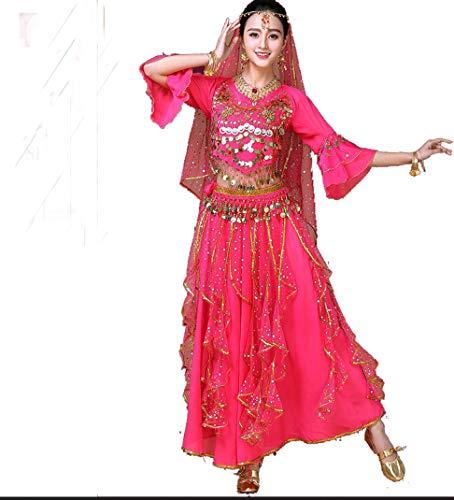 ZYLL 6-teiliges indisches Tanzkostüm Bauchtanz-Set Bühnenshow-Kostüm weiblicher Erwachsener,Pink (Weibliche Indische Kostüme)