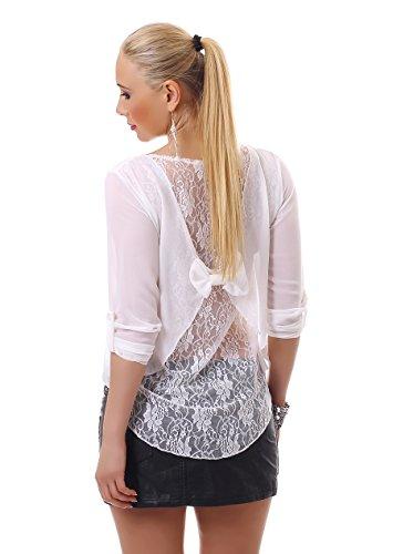 Damen Vokuhila Bluse Chiffon Tunika Shirt Top Spitze Schleife luftig  kurzarm Weiß