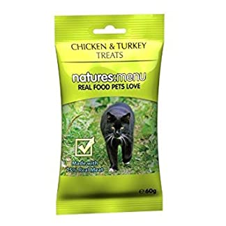 natures menu chicken & turkey cat treats, made with 95% real meat, 6 x 60g pouches Natures Menu Chicken & Turkey Cat Treats, Made with 95% Real Meat, 6 x 60g Pouches 41uGCNY4HyL