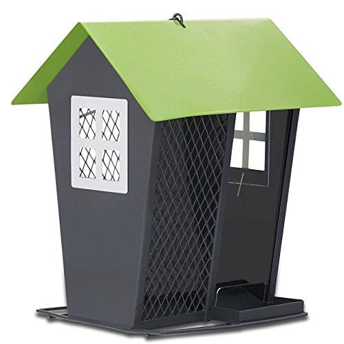 OPUS 420 Vogelfutterspender Gray Duo für Wildvögel mit einer Füllkapazität von 1.2 kg, grau/grün