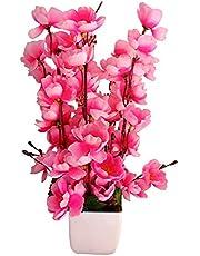 HYPERBOLES Artificial Pink Flower Home Decortaive Orchid Blossom Flower Vase PVC Plastic/Wooden Pot - 12inch/30cm (Pink)