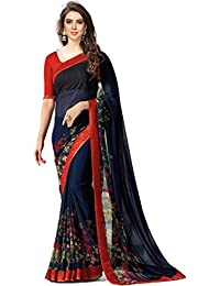 Traditional Fashion Women's Latest Design Georgette Material Saree With Free Size Blouse Piece- 4 Color Available