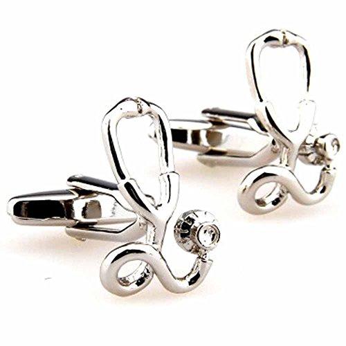 korpikus® ' Stethoskop ' Doktor Theme Shiny Silver Farbe Edelstahl-Manschettenknöpfe In Kostenlose Geschenktüte
