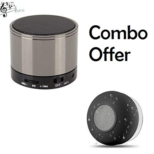 Honey Money Water Proof Bluetooth Bathroom Shower Speaker Plus S10 Mini Portable Mega Bass Bluetooth Home Speaker Combo Compatible with All Smartphones