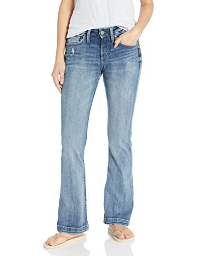 Silver Jeans Co. Damen Suki Curvy Fit Mid Rise Bootcut Jeans, Mittler, breiter Saum, 28W x 31L