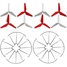 MagiDeal Set de 8 Piezas de Hélice de Hoja Principal & 8 Piezas Protectores de Hélice Piezas de Repuesto para Syma X5C X5SW X5SC X5S Propulsores Quadcopter Durable y Ligero de Plástico