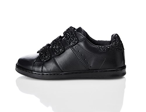 RED WAGON Girls' Glitter Velcro Strap Trainers Black (Black With Black Sequins) 13 UK Child (32 EU)