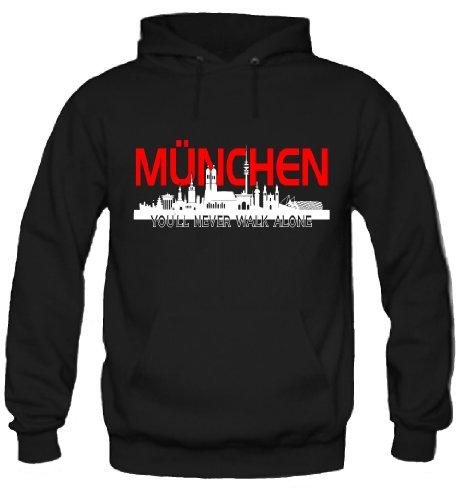 München Skyline Kapuzenpullover | Fussball | Basketball | Bayern | Trikot | Ultras | Männer | Herren | Fanshirt (S)