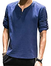 Camiseta Holgada De Algodón Manga De Larga para Hombres Modernas Casual  Camiseta Manga Larga De Cuello 8e4521edd9551