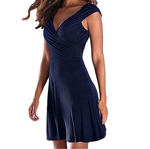 Neue Damen Kleid Yesmile Frauen Ärmellos V-Ausschnitt Sexy Kleid Solide Casual Partykleid A Linie Sommerkleid Minikleid (M, Marine) (V-ausschnitt-kleid Pullover Mit)