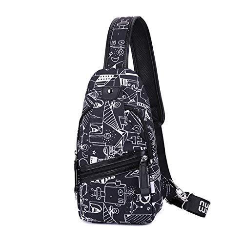 Herren Messenger Bag Small One Shoulder Bag Women Mini Waterproof Sling Chest Bag Man Back Pack Travel Bagpack C2 Einheitsgröße -