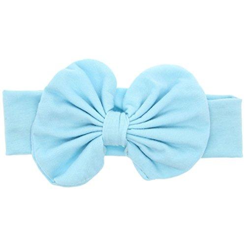 EROSPA® Stirnband für Babys Haarband mit großer Schleife Kleinkinder Mädchen elastisch 4 verschiedene Farben (Hellblau)