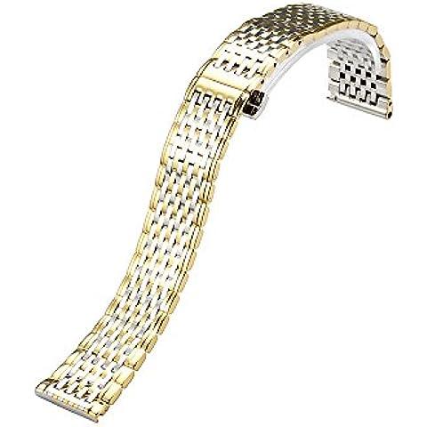 istrap 13mm, de acero inoxidable sólido Link extremo plano de metal pulido–Pulsera de oro amarillo/plateado