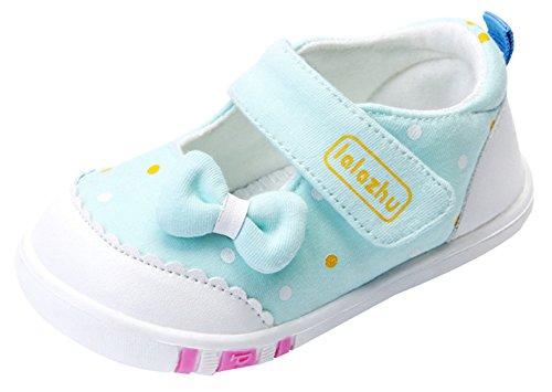 EOZY Chaussure Toile Enfant Bébé Fille Pois Nœud Souple Casual Shoes Premiers Pas Printemps