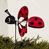 Windspiel - Magic Ladybird - UV-beständig und wetterfest - Windrad: Ø38cm, Motiv: 46x18cm, Gesamthöhe: 103cm - inkl. Fiberglasstab und Bodendübel (Ladybird)