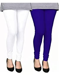 Stylewhile Combo Of White & Royal Blue Cotton Lycra Churidar Free Size Legging For Women