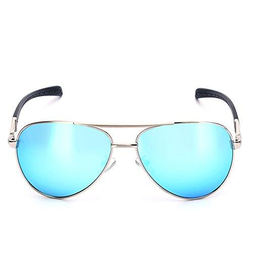 Vintage Aviator Occhiali da sole con custodia, Retro A Specchio Wayfarer Occhiali da sole-Polarizzati Specchio Occhiali da pilota per uomo e donna nero Blue