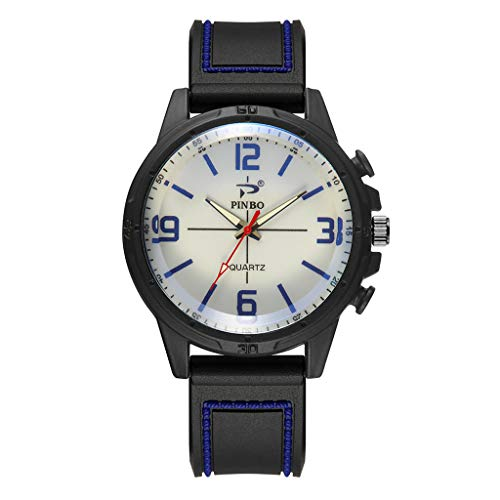 Herren Damen Uhr,Pottoa Runde Armbanduhr aus Kreuzstichnägeln Armbanduhren aus Silikon Mode Simulierte Quarzuhr Männer Weiche Silikonkautschukband Sport