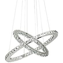 De cristal de techo, 2 anillos 60 cm de diámetro LED de techo lámpara de techo blanco