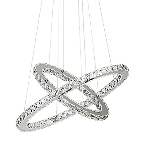 Chandeliers Ceiling Lights Crystal, Crystal Hanging Ceiling Lamp 2 Rings 60 Centimeter