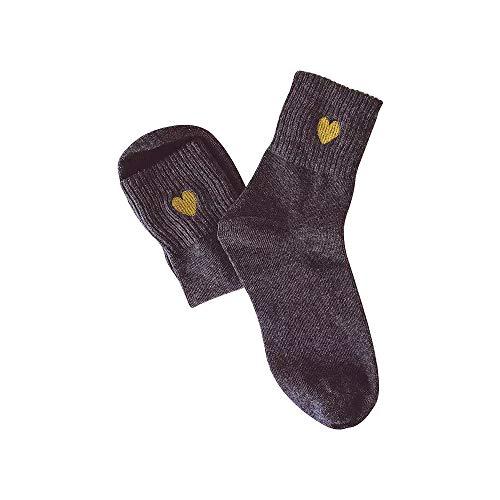Fenverk 5 Paar Harajuku Studenten Liebe Stickerei In StrüMpfen College-Stil Süß Socken Faule Frauen MäDchen Lustige Nette Baumwollmischungs Bequeme (Grau)