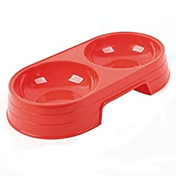 TOOGOO(R) Red Plastic Double Sections Pet Cat Dog Food Water Bowl Dish