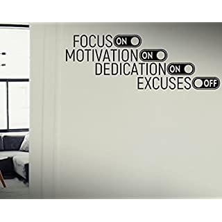 Focus On,Motivation On,Dedication On,Excuses Off - Quote Motivational Workout Fitness Exercise Gym Decal wall decals, vinyl decals stickers DIY Art Decor Bedroom