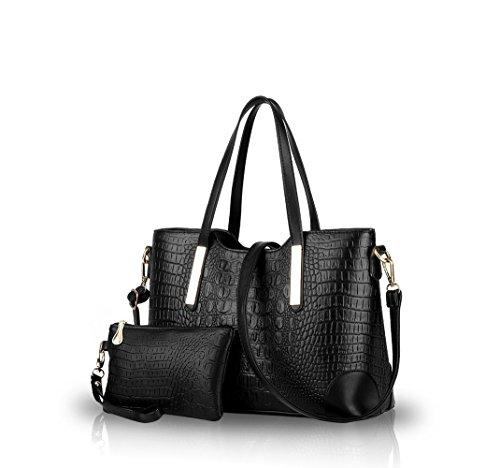 Nicole&Doris 2016 nuova spalla di modo coccodrillo delle borse del modello borse borsa diagonale big bag borsa casual da donna(Black)