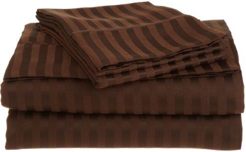 Impressions Superior - Serie 1.500, superweiches und knitterfestes, gestreiftes Spannbettlakenset, 96 x 203 cm, 100% gebürstete Mikrofaser, mokkafarben, 3-teilig - Queen Supreme Spannbetttuch