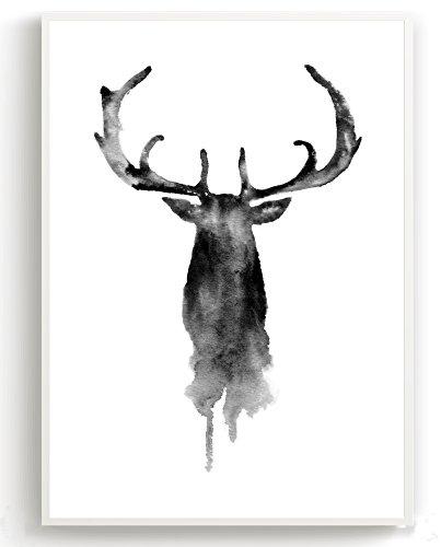 Wandposter für Wohnzimmer, Schlafzimmer, Arbeitszimmer Poster, Wandbild, Wanddruck edel (DIN A4 3er-Set) Hirsch - 4