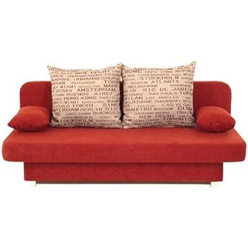 B-famous Schlafsofa Orlando-PUR Mikrofaser Rot-Grau, 186x85 cm