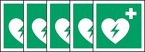 Anmeldung ISO Safety International Automatisierter externer Defibrillator Symbol - Selbstklebende Aufkleber 100mm x 100mm (Packung mit 5 Sticker) -