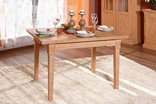 casamia Esstisch Esszimmer-Tisch 120 x 80 cm mit Klappeinlage, Pinie massiv Honig Farbe Pinie Honig