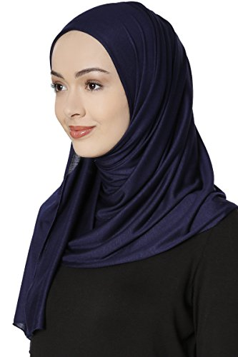 Ecardin Jersey Hijab Schal Kopftuch (Navy Blau) - 2