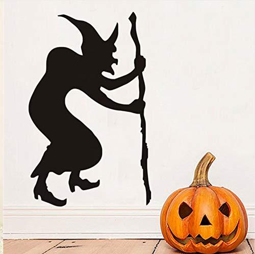 Buckelhexe Halloween Wandaufkleber, Halloween Wandtattoos, Hexe Silhouette Tapeten Halloween Dekoration Home Decor 58X90cm