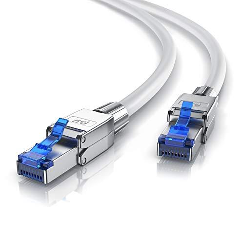 CSL - 2m Cat 8 Netzwerkkabel - 8.1 Standart Class 1 - 40000 Mbit s - 2000 MHz - Gigabit Ethernet LAN Kabel - Patchkabel - S FTP Pimf Schirmung mit Feldkonfektionierbarem RJ 45 Stecker