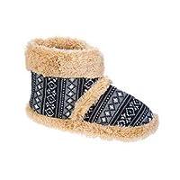 Brand New Style Mens Coolers Snugg Boot Fluffy Collar Slipper Boot In Fairisle Print Design Black Fairisle Size 7-8