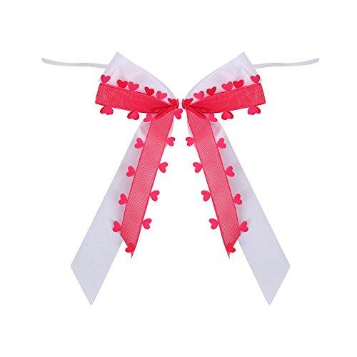 25 Antennenschleifen Autoschleifen Rot mit Herzen N22 I Handgemacht I Satinband I Autoschmuck Hochzeit Schleifen Star-LINE®