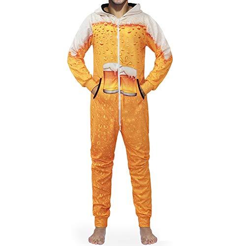 Morbuy Herren Jumpsuit Schlafanzug, Kapuzenpullover Strampelanzug 3D Printed Onepiece Sweatshirt Männer Strampler Weich Nachtwäsche Fitness Bekleidung Overall (2XL, Gelbes Bier)