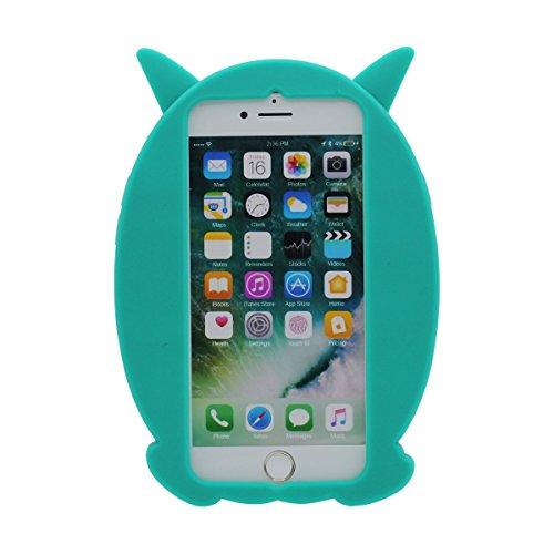 """iPhone 7 Coque Case Silicone Gel 3D Dessin animé Mignonne Chouette Apparence Souple étui pour Apple iPhone 7 4.7"""" Anti Choc ( ( Rose ) Cyan"""
