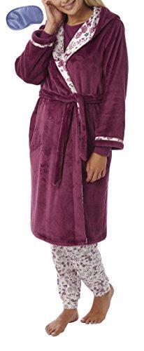 Damen Kapuzen Fleece Robe mit Satin Futter Hausmantel Bademantel (M) Maulbeere (Flausch-futter)