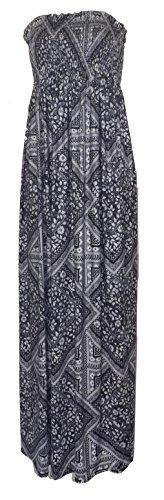 Nouveau femmes tonte recueillir boobtube bandeau dames bustier longue d'été maxi robe plus la taille toute couleur 44-50 XL / XXL Noir et blanc zig zag