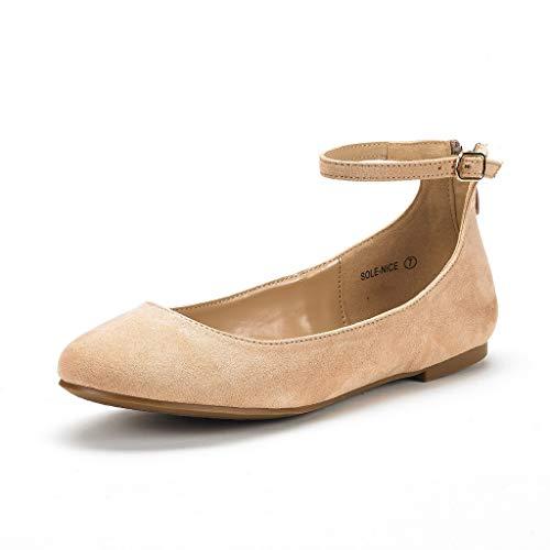 Wildleder Ballerinas Schuhe (DREAM PAIRS Sole-Nice Damen Ballerinas Nackt Wildleder 38.5 EU/7.5 US)
